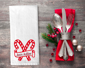 Personalized Candy Cane Tea Towel