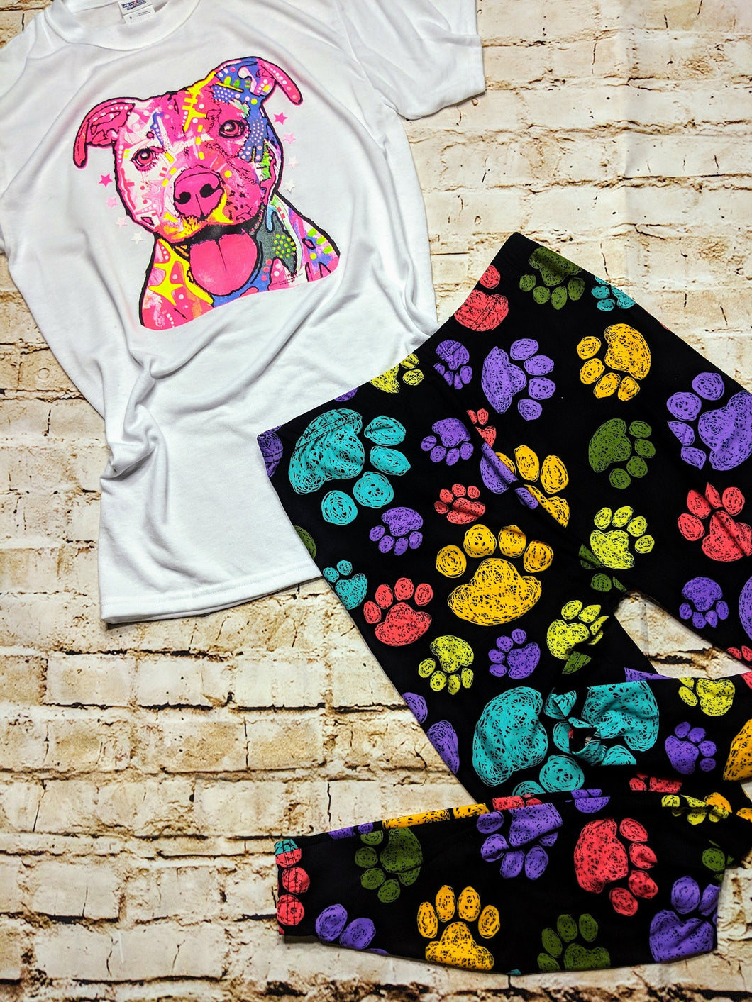 Neon Dog Tee & Soft Paw Print Leggings Bundle