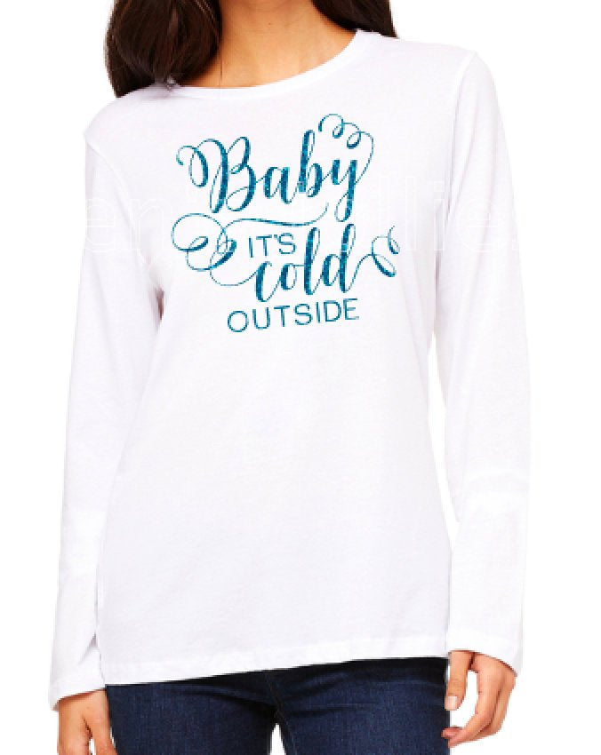 Ladies Glittery Baby It's Cold Outside Long Sleeve