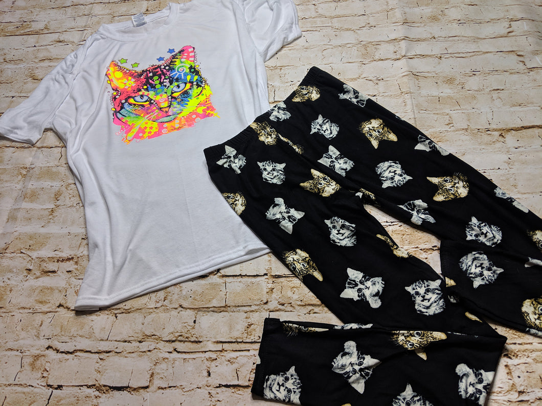 Purrfect Neon Cat Tee & Leggings Bundle