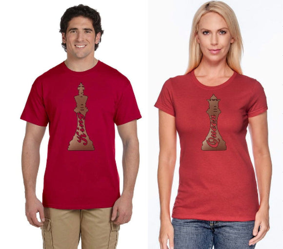 Chess King Queen Couples Tees