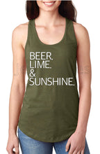 Load image into Gallery viewer, Beer Lime & Sunshine Racerback Women's Tank