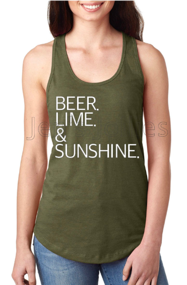 Beer Lime & Sunshine Racerback Women's Tank