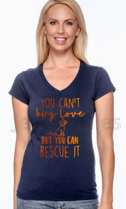 Can't Buy Cat Love Ladies V-Neck Tee