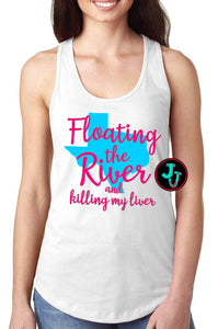 Floating the Texas River Racerback Sublimated Tank Shirt