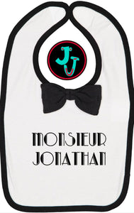 Fancy Tuxedo Baby Bib Personalized