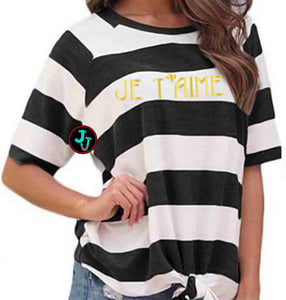 Je T'aime (I love you) Texas Stripe Knot Shirt