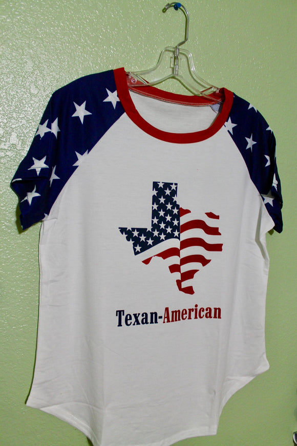 Texan-American Ladies Star Sleeve Tee