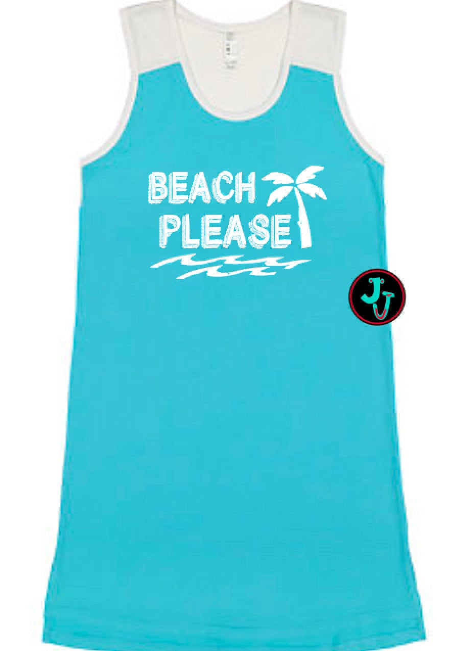 Swimsuit Cover Up Beach Please Caribbean Racerback Dress