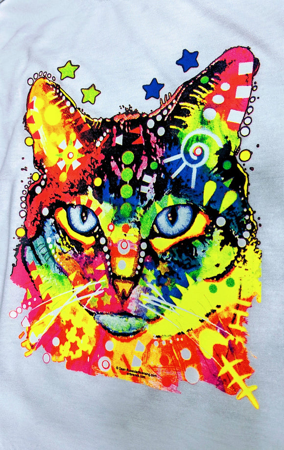 Bright and Fun Neon Cat Tee