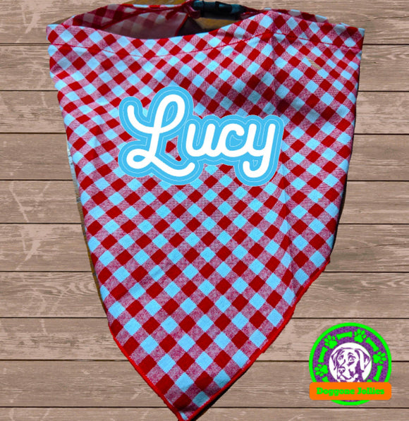 Red White Gingham Snap-Closure Dog Bandana