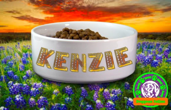 Sublimated and Fully Customizable Personalized Ceramic Dog Bowl