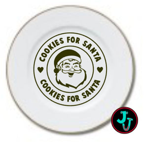 "SIX DESIGNS!!! 7.5"" Double Gold Banded Sublimated Santa Cookie Plate"