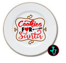 "Load image into Gallery viewer, SIX DESIGNS!!! 7.5"" Double Gold Banded Sublimated Santa Cookie Plate"