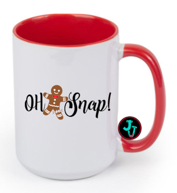 15oz Sublimated Red Oh Snap Gingerbread Coffee Mug