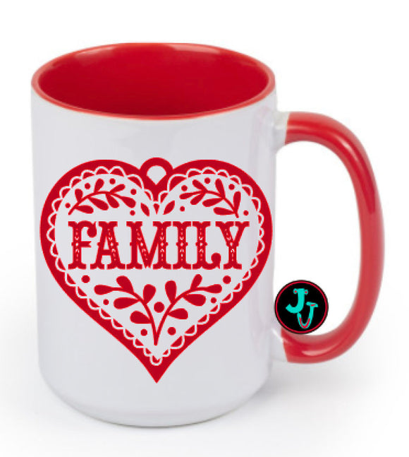 15oz Sublimated Red Family Heart Coffee Mug