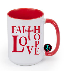 15oz Sublimated Red Faith Hope Love Coffee Mug