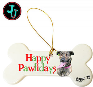Happy Pawlidays Porcelain Dog Bone Ornament With Your Photo