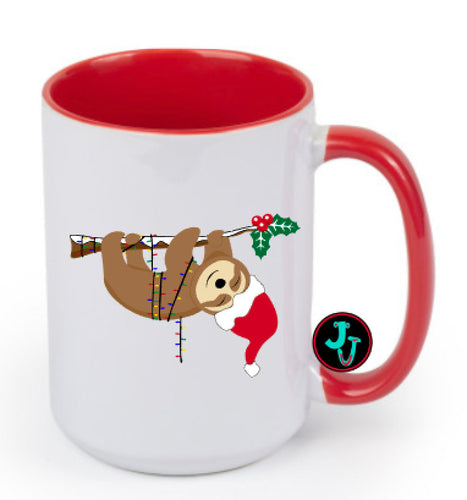 15oz Sublimated Red Christmas Sloth Coffee Mug