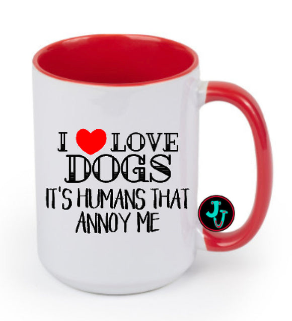 15oz Sublimated Red I Love Dogs Coffee Mug