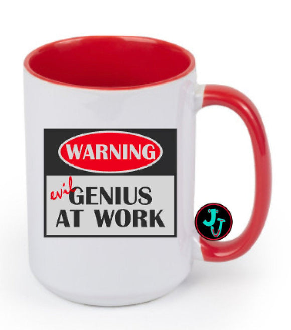 15oz Sublimated Red Evil Genius At Work Coffee Mug