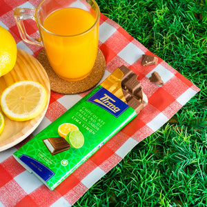 Tirma Chocolate filled with Lime and Lemon Flavoured Cream. Tirma Chocolate enjoyed during picnic with orange juice and lemon slices. Made in Spain. Available in UK