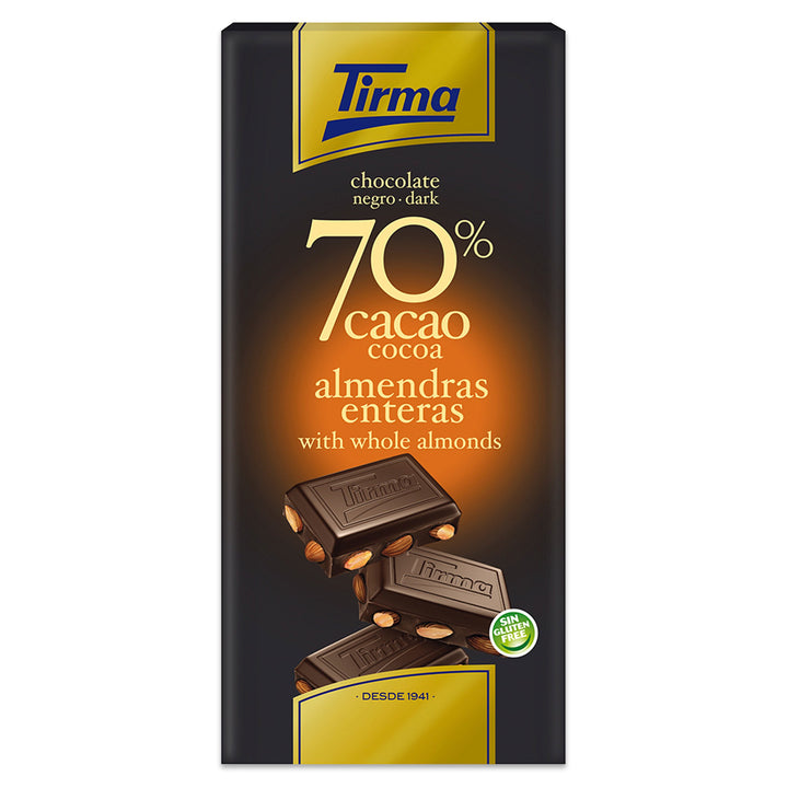 Tirma 70% Dark Chocolate Bar with Whole Almonds