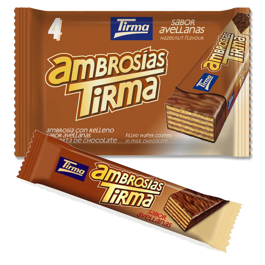 Tirma wafer bar dipped in milk chocolate filled with hazelnut cream. Pack of 4