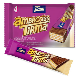 Tirma Wafers filled with Cream and dipped in Milk Chocolate, Pack of 4 individual wafers, 86g