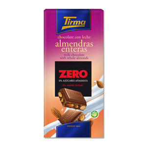 Tirma milk chocolate with whole almonds - no added sugar.