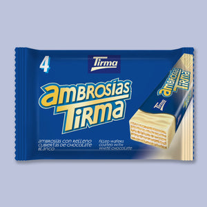 Tirma White Chocolate Wafers, 86g. Pack of 4. Suitable for Vegetarians. Made in Spain.