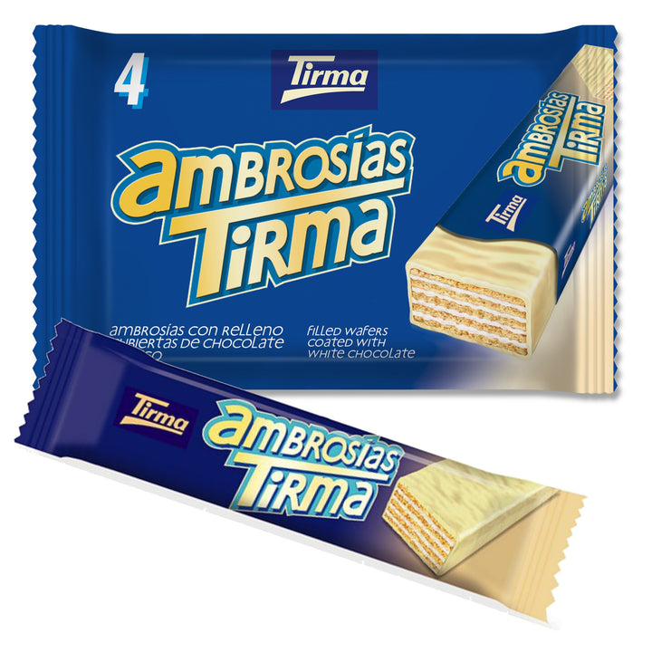 Tirma wafer bar dipped in white chocolate filled with cream. Pack of 4
