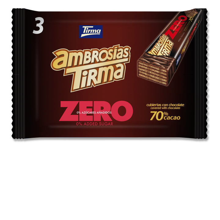 Tirma 70% Dark Chocolate Wafers, individually wrapped and available in packing of 3. No Added Sugars and Vegetarian. Perfect breakfast and snack option. Delivery in the UK