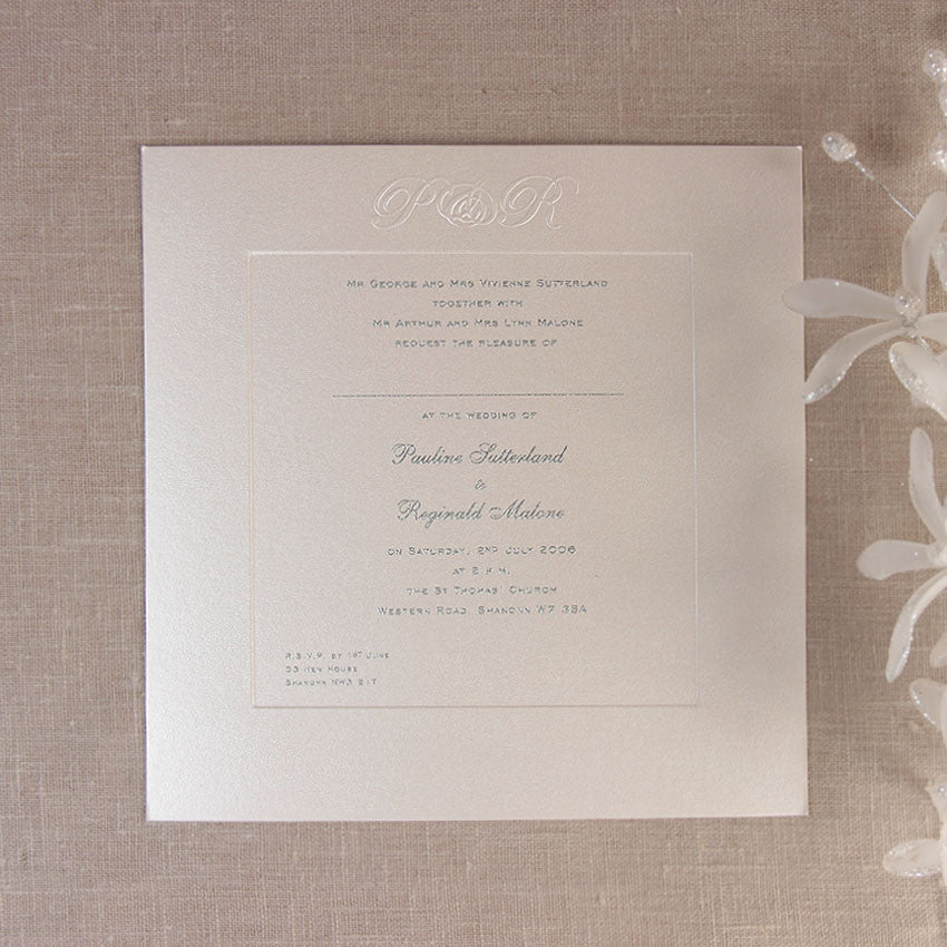 Luxury Embossed Metallic White Day Invitation With Foil And Sunk Border