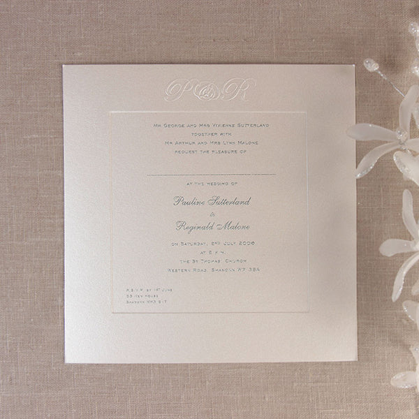 Luxury Embossed Metallic White Day Invitation With Raised Ink And Sunk Border