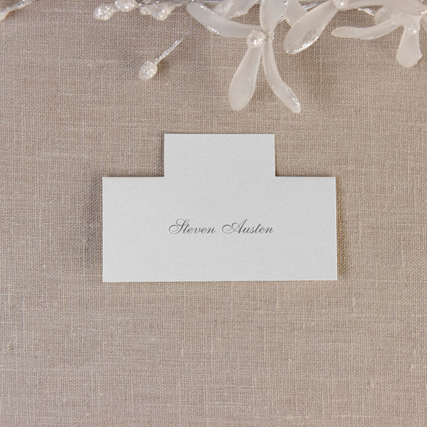 Metallic White Place Card