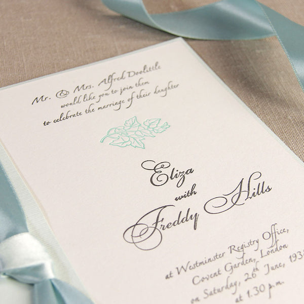 Blue Satin Classic Wedding Day Invitation