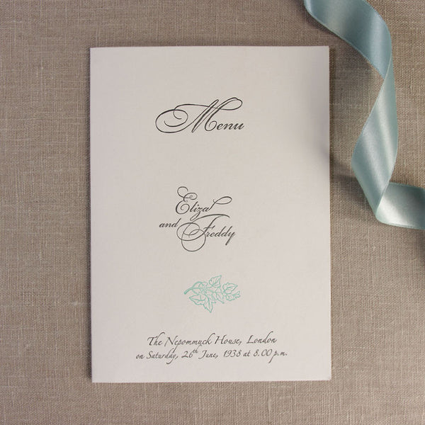 Blue Satin Classic Order of Service / Menu