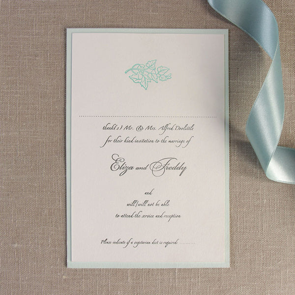 Blue Satin Classic Save the Date / Thank You / Reply Card
