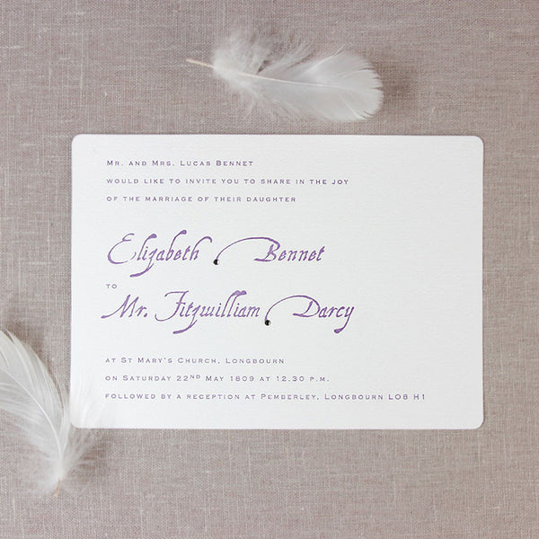 Purple Letterpress Day Wedding Invitation