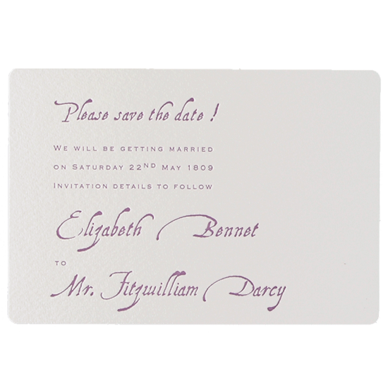 Purple Letterpress Save the Date / Reply / Thank You Card