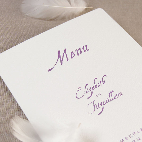 Purple Letterpress Order of Service / Menu