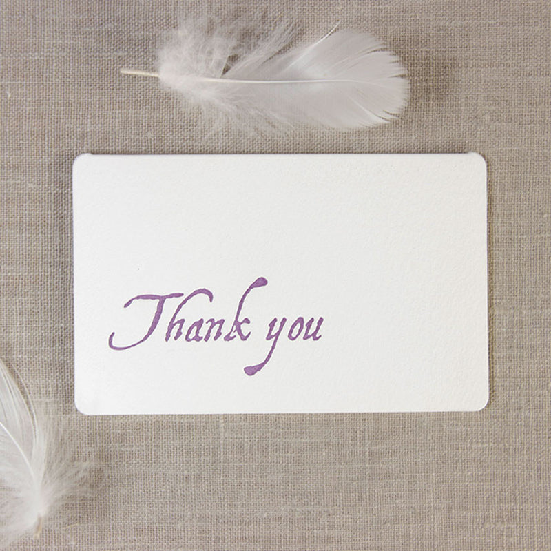 Purple Letterpress Folded Round Edge Thank you Card