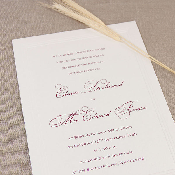 Simple Elegant Embossed Wedding Day Invitation With Cherry Raised Ink