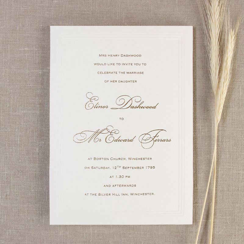Ecru Triple Embossed Sunk Frame with Lined Envelopes and Classic Calligraphy Wedding Day Invitation