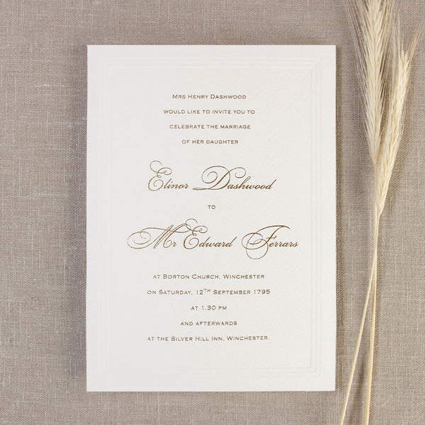 Simple Elegant Embossed Wedding Day Invitation