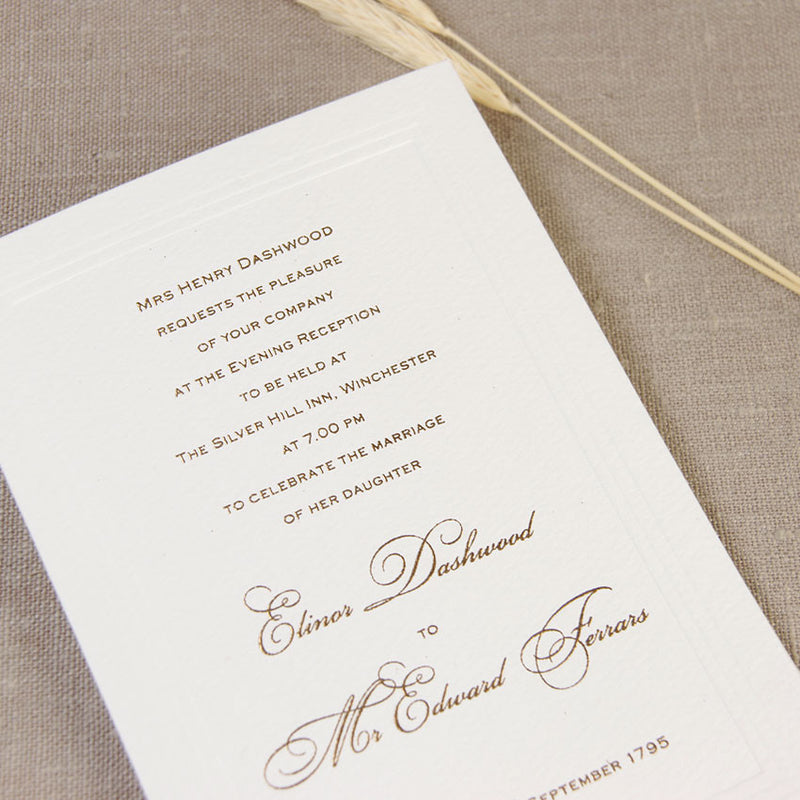 Simple Elegant Embossed Evening Invitation