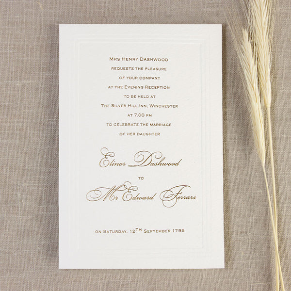 Simple Elegant Embossed Evening Invitation With Lettrepress Text