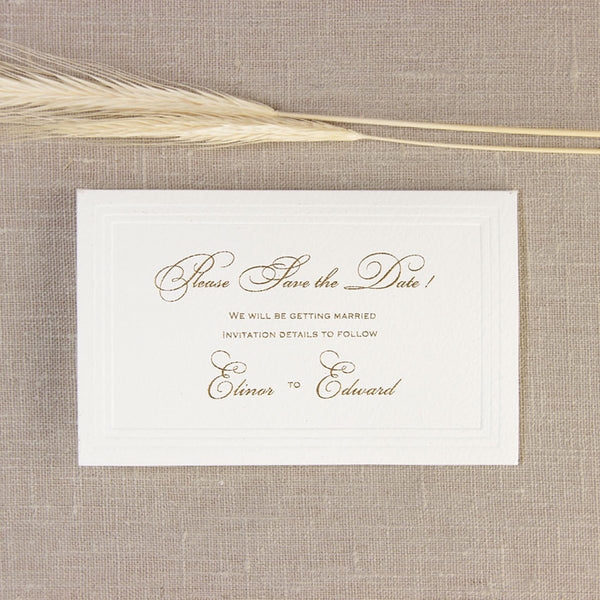 Simple Elegant Embossed Save the Date / Reply / Thank You Card