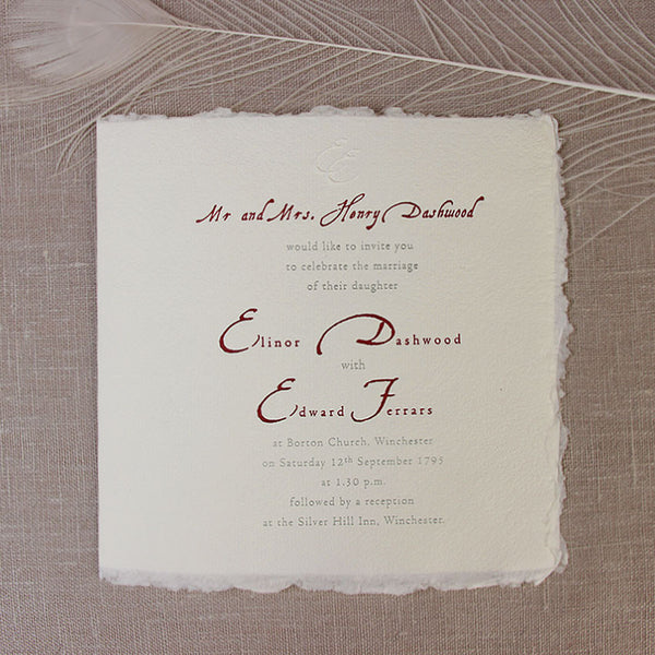 Royal Day Wedding Invitation Hand Made Italian edges Paper with True Wax seal